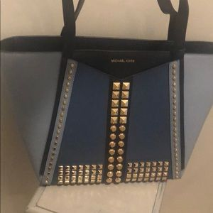 Michael Kors blue color block tote with gold studs
